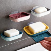 2 Layers Strong Stick Suction Soap Dish Tray Holder Shower Accessory Easy Clean