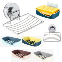 Strong Suction Bathroom Shower Soap Dish Sponge Holder Stand Cup Tray Easy Clean