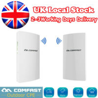 2pcs COMFAST 5.8GHz 300Mbps Wireless Outdoor CPE AP Bridge Repeater AP Router UK