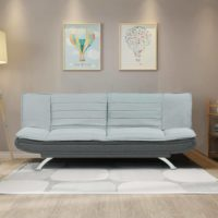 Sofa Bed Padded Charcoal or Egg Grey Fabric White Fabric Sofa Bed Metal Feet