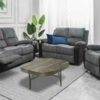 Grey 1+2+3 SEAT STYLISH FABRIC RECLINER SOFA SET LOUNGE LIVING ROOM FURNITURE