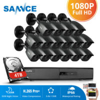 SANNCE 16CH 5IN1 DVR Outdoor 3000TVL CCTV Camera IP66 IR Cut Night Security Kit