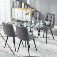 Rectangular/Round Glass Dining Table and 4 Chairs Faux Suede Fabric Living Room