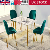 Dining Rectangle Table and 4 Velvet Fabric Chairs Set Kitchen Dinning Room UK