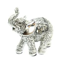 Silver Etch Resin Medium Elephant Ornament Figurine Statue Lover Christmas Gift