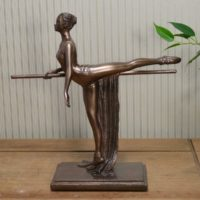 Art Deco Bronze Look Ballet Figurine Sculpture Ballerina Statue Ornament Figure