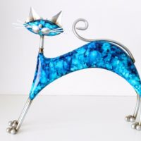 "13"" Large Metal Cat Statue Figurine Sculpture Home Ornament Art Deco Gift Idea"