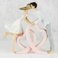 Romantic Couple Kissing on Entwined Pink Hearts Figurine Gift Ornament 22 cm