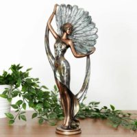 Tall Art Deco Lady Woman Figurine Ornament Statue Bronze Silver Feather Fan 38cm