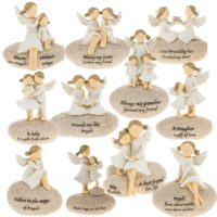 Angel Stones Figurine Ornament Gift Home Decoration Fairy Stone Message
