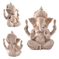 Ganesh Buddha Statue Sandstone Elephant Sculpture Fengshui Figurine Craft Decor