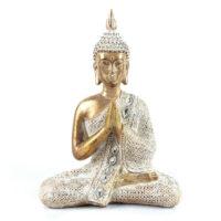 Thai Buddha Figurine - Gold and White Lotus Oriental Spiritual Ornament
