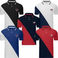 Mens Polo Shirt Tipping Top Short Sleeve Designer T Shirt Golf Plain Horse Sport
