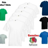 5 PACK FRUIT OF THE LOOM WHITE MENS PLAIN TEE COTTON T-SHIRTS WHOLESALE S-XL New