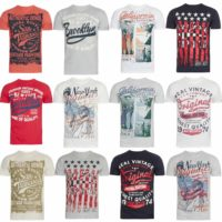 New Mens Printed T-Shirt Short Sleeve Crew Neck T Shirts Cotton Tees Casual Top