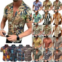 Mens Casual Hawaii Shirt Short Sleeve Slim Fit Summer Floral Blouse T-Shirt Tops