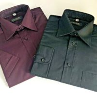 "2 x Mens Formal Shirts Black 15"" L/ Sleeve Ruby Short Sleeve Rochelle Work NEW"