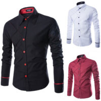 Men's Luxury Long Sleeve Shirts Slim Fit Formal Business Dress Shirt Tops Blouse