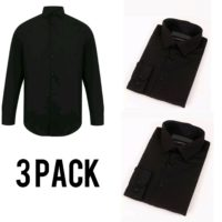 3 Pack Mens Black Formal Shirt Long Sleeve Slim Regular Fit Plain Business Work