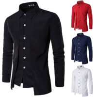 Stylish Luxury Mens Slim Fit Long Sleeve Dress Shirts Formal Casual T-shirt Tops