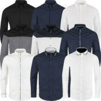 Mens Long Sleeve Shirt Button Up Smart Casual Formal Plain Contrast Dress Top
