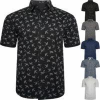 Mens Summer Short Sleeve Shirts Casual Cotton Printed Formal Slim Fit Shirt Top