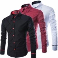 Mens Luxury Classic Button Long Sleeve Shirt Formal Casual Designer Slim Fit Top