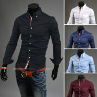 New Stylish Mens Slim Fit Casual Shirt Shirts Top Long Sleeve S M L XL XXL PS02