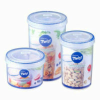 Lock & Lock Round Twist Lid Food Storage Plastic Watertight Container Box Jar