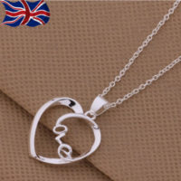 """925 Sterling Silver plated Love Heart Necklace Pendant 18"""" Chain Romantic UK"""