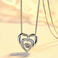 Double Heart Pendant 925 Sterling Silver Chain Necklace Womens Girls Jewellery