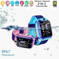 Bluetooth Smart Watch GPS GSM Touch Tracker SOS for Kids Children + Camera IP67