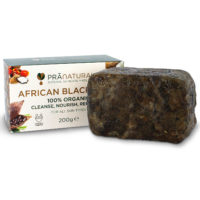 PraNatural Organic African Black Soap Face Body Anti-Ageing Shea Butter 200g Bar