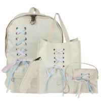 4pcs/Set Backpack Ribbon Bow Canvas Travel Bookbags School Bags for Teenage Girl