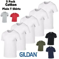 Gildan Mens 5 Pack Cotton Plain Heavy T Shirts Top Wholesale S-XL Tshirt Men New