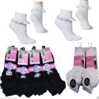 Girls Cotton School Socks for Kids, Frilly Lace Ankle 1 pairs per pack