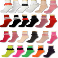 Girls Lacey Frilly Ankle Socks Ladies Childrens School Trainer Party Fancy Dress