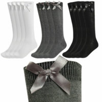12 Pack Girls Knee High School Socks With Bows Long Cotton Rich Party Socks Bow