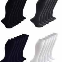 Girls knee high socks long school uniform black grey white 1,2,3,6 pairs lot