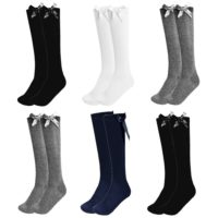 Girls Knee High Bow Socks Lycra Long School Black Grey Navy White 1 2 3 Pairs