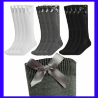 6 Pairs Girls Knee High School Socks With Bow Cotton Bow Black Navy Grey White