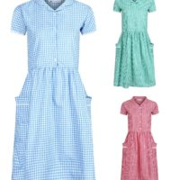Ex M&S Girls Gingham School Summer Dress with Pockets and Lace detail Age 3-12y