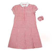 Girls Checked Red School Uniform Pleated Gingham Summer Dress+Hair Bobble 3-14Y