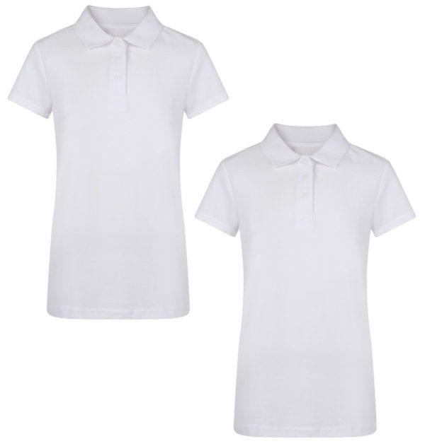 GIRLS 2 PACK WHITE SCHOOL POLO T SHIRTS PIQUE EX UK STORE 3-16 YEARS NEW