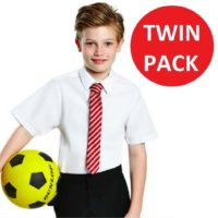 Boys 2 Pack White Regular Fit Short Sleeve School Shirt Ages 3-16