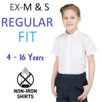 EX M&S Boys School Shirt White Short Sleeve Regular Fit Slim Ages 2-16