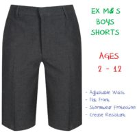 EX M&S Boys School Summer Shorts Ages 2-12 Grey Black Adjustable Waist