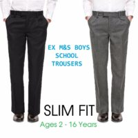 Ex M&S Boys Black Grey School Trousers Slim Fit Age 6 7 8 9 10 11 12 13 14 15 16