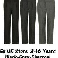 BOYS SCHOOL TROUSERS PLEAT FRONT EX UK STORE 3-16 YEARS BLACK CHARCOAL GREY NEW