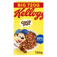 Kellogg's Coco Pops Chocolate Flavour Crunchy Breakfast Cereal -Pack of 2 x 720g